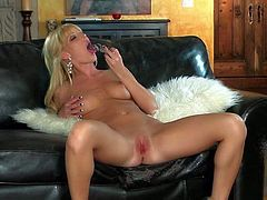 Gorgeous blonde Niki Young with sexy natural boobs and shaved pink pussy parts her legs and fills her sweet hole with dildo made of glass. Watch Niki Young get satisfaction alone.