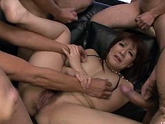 Hussy Japanese slut is ready to suck out all their juice. Three guys enjoy her hot mouth hole and her deepthroat. Be ready for endless pleasure right here and right now.