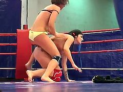 Lesbian action has never been more interesting because in this clip two stunning girls Lexi Ward and Selina are showing their wrestling skills with pleasure.