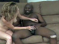 Watch a naughty brunette belle playing with her pussy before her clam gets banged balls deep into a breathtaking orgasm by a horny black stud.