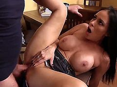 This amateur bitch has really big boobs and experienced mouth! Vanilla DeVille was so hungry, that she fucked the her sons friend Dane Cross. He surprised a lot but agreed very fast.