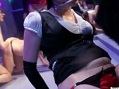 Filthy drunk white whores in ripped pantyhose and leather lingerie get on the scene of night club in the middle of the party to have their dirty lesbian games in steamy group sex video by Tainster.