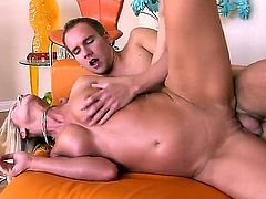 Simone Sonay caught her sexy daughters new boyfriend Sonny Hicks alone in the living room while she was in the bathroom and seduces him for a crazy anal fuck.
