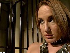 Tempting tight ass brunette Andy Brown in stockings only gets put manacles and dominated by smoking hot milf Mandy Bright with huge gazongas in short skirt in memorable bondage fantasy