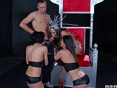 Ariella Ferrera, Veronica Avulv and India Summer fight over one hard rod in their arousing group sex session with Johnny Sins and Keiran Lee in the same room