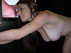Busty slut Dillion Carter likes sucking and having her cunt fucked in dirty glory hole fetish