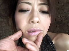 Unshapely dark haired Japanese whore Maki Hojo flaunts her fat hairy cunt. She gets naked and and starts sucking tiny prick.