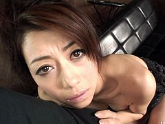 Skanky Japanese bitch Maki Hojo gives shitty blowjob