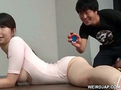 Full titted asian gymnast teased thru her torn body suit