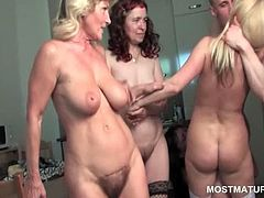 Blonde nasty mature gets cunt banged over the couch in group