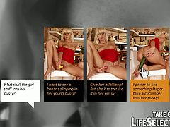 Mature sextractive housewife invites over a young blond maid in order to help her with house chores. However they don't limit themselves to house chores only - titless blond maid gets on a kitchen counter in order to allow a rapacious domina pound her snatch with cucumber.