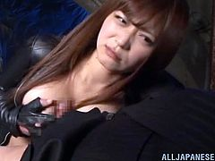 Passionate Japanese chick in black leather bodysuit gets her pussy and tits licked. After that she also gets fucked deep on a sofa.