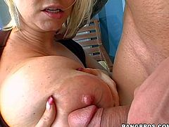 Heavy chested and pretty aroused blonde honey Samantha enjoys in showing her massive melons in front of the camera, making the guy really aroused and sucking his hard rod