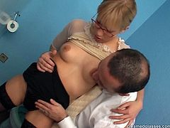 The best way to relax for exhausted clerk in glasses is to please her male co-workers. Horn-mad blondie gets rid of office suit, squats down and gives stout blowjobs to long strong dicks. Gosh, this bitch with small pale tits is worth checking out in Pack of Porn sex clip.