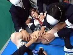Japanese girl in gets gangbanged in a classroom