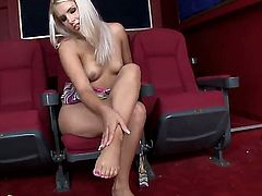 Blonde Brandy Smile is full of passion to masturbate with toy