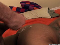 Bootylicious black slut loves white cocks. She seduces the guy letting him eat her tasty wet snatch. He penetrates her cooch in a missionary position poking her hard. Then Izces Divine tops the rod hopping on it fast.