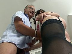 Brunette Tiffanny Doll plays with dick and gets doggy fucked