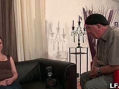 This French brunette amateur gives an interview with an older dude then does some semi nudes photos before he brings in another guy with a hard cock in need of a blowjob.