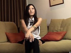 Porn star candidate - divine Japanese milf Yui KoYui Kominemine - goes through a job interview. She talks about herself in front of cam before a horny dude approaches her to welcome a blowjob.