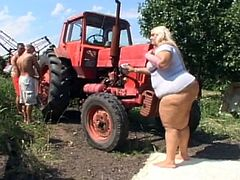 Hot BBW blonde babe with big natural tits looks so hot in this crazy threesome action, If you like the real big women then you will probably adore this exciting hardcore threesome sex in the farm by seducing fat babe.Enjoy!
