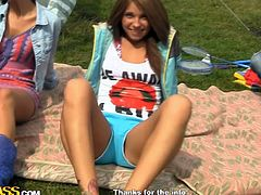 Naughty teens are having their tigth vags nailed by horny hunk in outdoor threesome