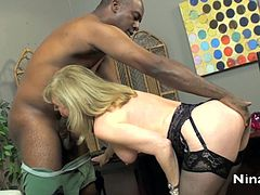 Blonde mature likes interracial sex