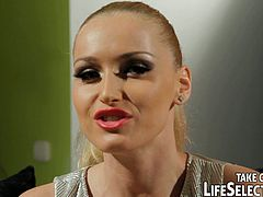 Insatiable sextractive blond domina forces a submissive brunette bimbos please her shaved cunt with a thorough tongue fuck. Later she sticks a dildo into her unused asshole for a hard anal fuck in perverse sex video by Life Selector.