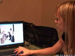 Hot and arousing blonde pornstar Blue Angel enjoys in getting recorded by a cam as she watches and shows some of her pretty hot nude photos on her computer