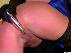 Seductive blond head with smooth ass wears not only stockings but also strapon. Voracious chicks has a great and impressive collection of sex toys. Tonight this nympho desires to polish the cunt and anus of naughty slim brunette to make her moan like a mad one.