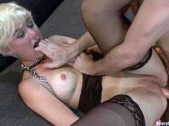 Lewd short-haired blonde Chloe Camilla is having fun with her man indoors. The guys pokes various toys into Chloe's butt and then fucks it deep and hard from behind.