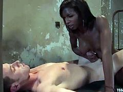 Ebony ladyboy Natassia Dream is playing dirty games with a dude named Nomad. She toys his ass and mouth-fucks him hard and then destroys his ass with her schlong.