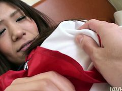 Amazing and surely charming Japanese student unbuttons her blouse to jam pale tits, while horny dude tickles her wet too fluffy pussy. Ardent brunette moans and spins madly of pleasure. Just pay attention to this wondrous harlot in Jav HD sex clip and be sure to jizz at once.