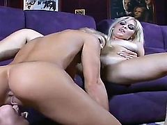 Blonde Nikki with big knockers and bald pussy shows nice solo tricks with her new dildo