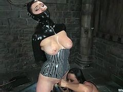 Submissive girl gets fingered and dominated by a girl