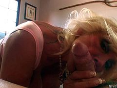 Mature blonde Shelly A is good at cock sucking