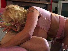 Shelly A is a horny blond-haired busty granny dressed in pink. She opens her mouth wide and f ace fucked by hard dicked man, She gives blowjob with wild enthusiasm. Watch mature woman with experience give blowjob and get her huge melons banged.