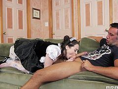 Tessa is wearing a sexy french maid uniform and her big boobs are just asking for attention. Keiran can't help himself not to have some action with her so he begins by delighting with those sexy breasts and then fills her pussy with his dick. Yeah the bitch rides him in reverse cowgirl and bounces those boobs