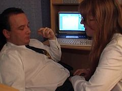 Ugly long haired secretary Veronica gets her juicy pussy eaten in the office