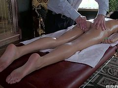 Megan Salinas is one irresistibly sexy sexy chick with raven hair and bald pussy. She is completely naked and needs relaxing full body massage badly. Masseur is free to touch her body parts.