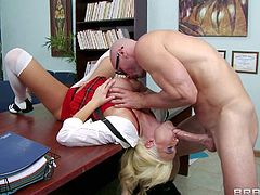 Summer Brielle us a sluttiest and the bustiest babe at school. Blonde in sexy red and white uniform bares her bubble butt and huge tits before she takes Principals hard dick in her mouth.