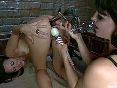 Lesbians Bobbi Starr and Mark Davis are in action! They get naked and start making each other feel so delighted, sticking some thick toys in each other's gaping assholes.