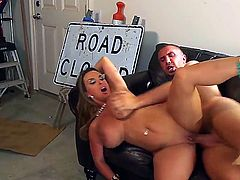 Great mistress Holly Halston with amazingly big boobs and exciting fucking experience having fun with a hard worker Keiran Lee who was repairing the road near her house.