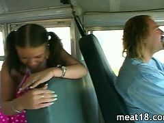 Delicious chick getting her pierced shaved pussy by the busdriver! He has prepared his big meat and shows no mercy for her tight hole!