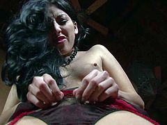 Black haired sexy girl Kimberly Gates with firm small boobs plays with her neat pussy with her black nylon stockings and panties on. Watch sexy sexy hottie have fun alone for the camera.