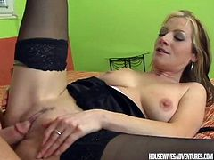 Horny blonde with her big tits likes riding and getting all wild in hardcore
