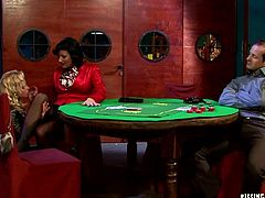 Two alluring milfs play poker with a bald sex greedy daddy. At the end of the game they start licking each other's legs in pantyhose before giving a rimjob in front of him in sultry threesome sex video by Tainster.