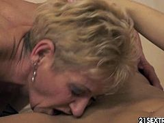 Autumn Leaf is a horny blonde granny and she enjoys having fun with younger girls like Wild Devil! Watch them switching turns and sucking each other's pussies!