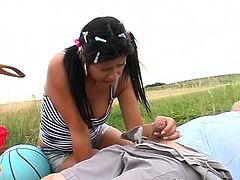 Spoiled brunette slut hooks up with a fat daddy while taking a stroll outdoors. She inclines to his strain dick while he lies on the ground to give a blowjob before she stands in pose 69 to continue oral fucking.