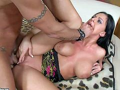 Black haired big ass Kerry Louise with arousing back tattoo and big firm gazongas screams while her horny lover is drilling deep her shaved minge with piercing in awesome positions